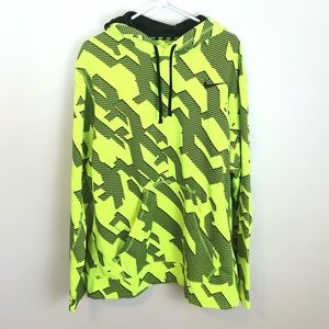 NIKE Neon Yellow Black Therma Pullover Hoodie XL
